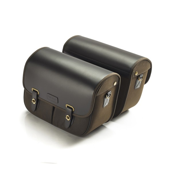 Baumwoll Gepäcktaschen mit Lederüberzug Paar